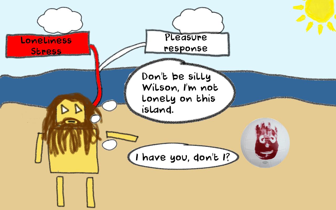 loneliness stress, castaway cartoon, lonely island, social instinct